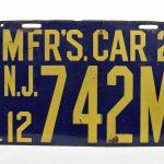 303. 1912 N.J. enameled dealers license plate