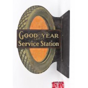 """Trade sign, C. 1915, double sided, metal, """"Goodyear Akron Service Station"""