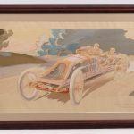 "41. Early French Automobile racing lithograph ""SZISZ SUR VOITURE RENAULT...."". Artist ""Montaut"""