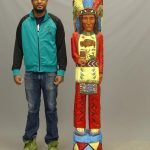 Carved wooden, polychrome painted Native American cigar store figure