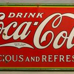 Large vintage enameled tin Coca Cola sign