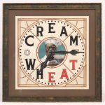"Original Cream Of Wheat illustration. Clock with center face and ""CREAM OF WHEAT"""