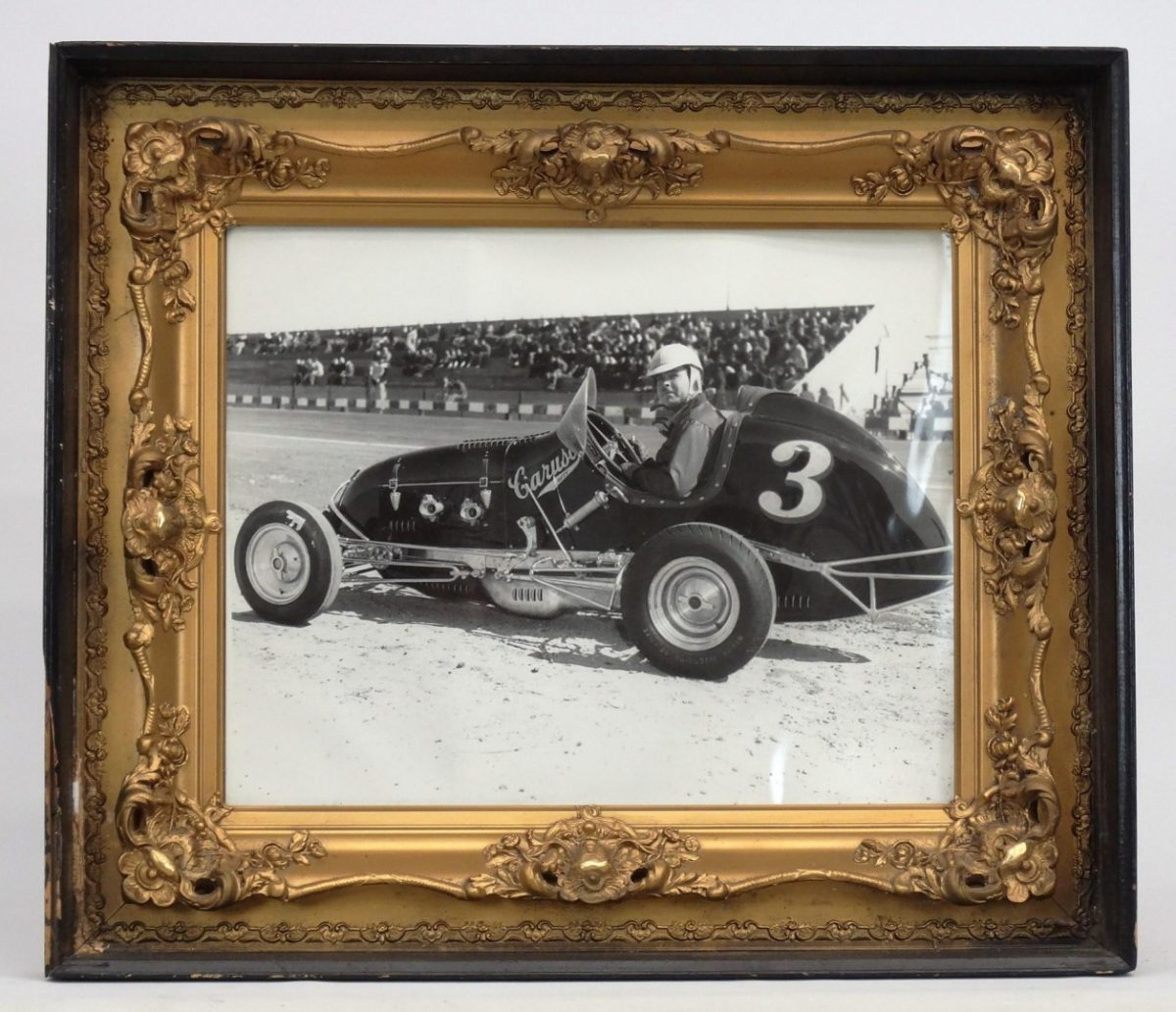 82. Vintage framed Len Duncan photograph (in famous Caruse Offy). C. 1940.