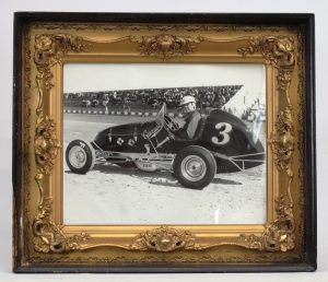 82. Vintage framed Len Duncan photograph (in famous Caruse Offy). C. 1940.