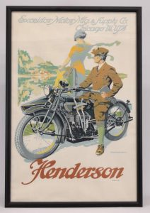 22. Rare Henderson, Four Cylinder Motorcycle with Side Car poster. Brennemann