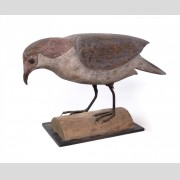 19th c. carved wooden, polychrome painted falcon