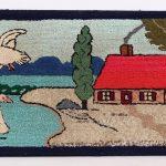 Mounted hooked rug, homestead with ducks