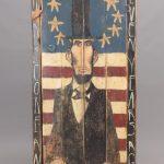 Jim Lambert folk art painted Lincoln cupboard