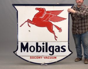52. C. 1938 double sided enameled Mobil sign
