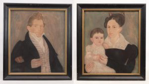 133A-134A. portrait of a gentleman and portrait of mother and child
