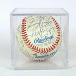 337. Yankees autographed baseball. Hand signed by 1978 N.Y. Yankee team members and coaches October 24th and 25th 1998