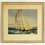 Sandor Bernath (1892-1984), sailing subject. Watercolor.