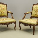 Pair early French needlepoint chairs.
