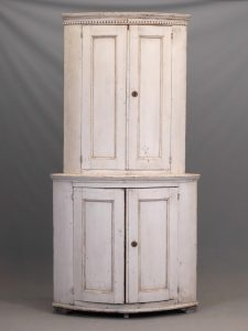 19th c. French Barrel Back Corner Cupboard