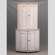 19th c. French Barrel Back Corner Cupboard