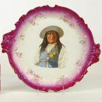 "Victorian porcelain charger. Signed ""CHIEF JOSH / SANCARLOS APACHE"""