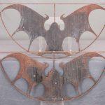 Pair iron bat architectural windows.