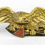Carved pine wooden eagle wall plaque