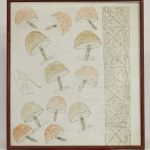 "Lee Godie (1908-1994), ""Mushrooms And John Handcock Bldg."""