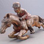 Large (7 ft. long) Folk Art Carved Jockey And Horse