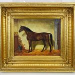 Nadler, 19th c. painting of a horse. Oil on wood panel
