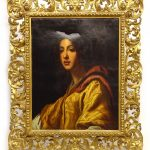 Early Continental school portrait in Florentine frame
