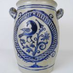 19th c. stoneware decorated crock
