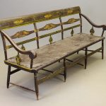 19th c. Pennsylvania paint decorated Deacon's bench