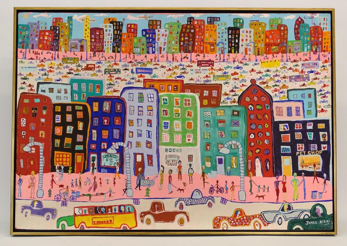 James Rizzi (1950-2011), street scene, oil on canvas