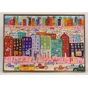James Rizzi (1950-2011), street scene, oil on canvas