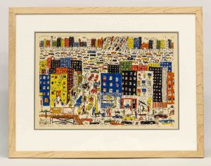 "James Rizzi (New York 1950-2011), ""It's So Hard To Be A Saint When You're Living In They City""."