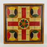 Mid 20th c. polychrome painted game board