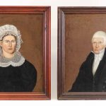 Pair of early 19th c. portraits of a man and woman. Sitters are Polly and Jos. Brown.