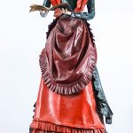 "Victorian papier mache figure of lady reading book. ""Fair Lady from Danbury State Fair"""