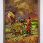 Joseph Henry Sharp (1859-1953), Native American Camp, oil on cardboard / artist board.
