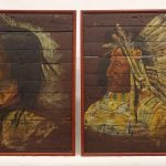 Pair of Native American portrait panels on wood