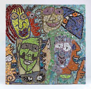 James Rizzi Funny Faces. Mixed media mosaic, 2001.