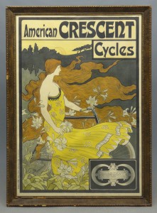 "c. 1899 poster ""American Crescent Cycles"" artist signed and dated J. Ramsdell '99."