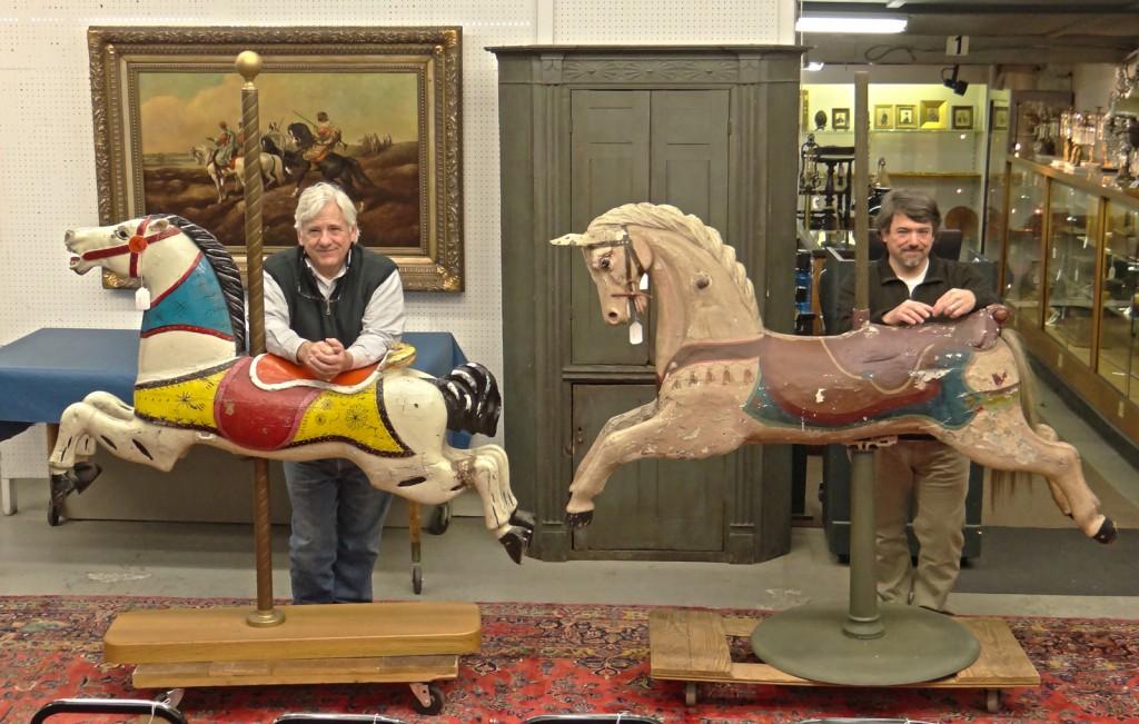 645 (L) 642 (L) Carousel horses, Lot 3 NJ cupboard