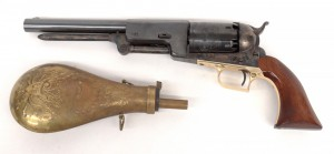 """Commemorative Colt pistol in case with powder horn. Marked """"Colt's Patent"""" and """"5021"""". 16"""""""
