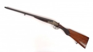 """Helico St. Etienne double barrel shotgun. Barrel 27"""" L., 43"""" overall. PLEASE NOTE: We will have"""