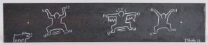 Original signed and dated Keith Haring found object, ink and marker on iron
