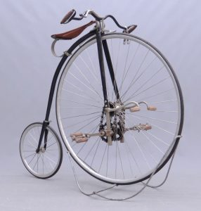 "C. 1885 Rudge ""Kangaroo"" high wheel safety, 40"" chain driven front wheel"