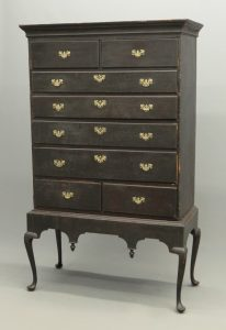 18th c. New Hampshire Queen Anne chest on frame