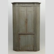 Early 19th c. Bergen County New Jersey corner cupboard in original blue/gray paint.