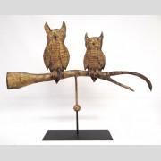 Owls on branch gilt copper weathervane