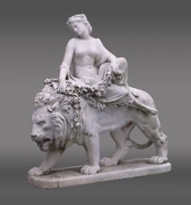 "Marble statue by Jean Baptiste Auguste Clesinger (France 1814 - 1883). Signed ""La Charmeuse... J Clesinger Rome 1869""."