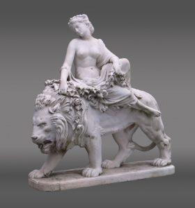 "Marble statue by Jean Baptiste Auguste Clesinger (France 1814 - 1883). Signed ""La Charmeuse... J Clesinger Rome 1869""."