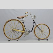 Elliott Hickory C hard tire safety bicycle, Newton Mass. C. 1892, restored, headlamp included. Good condition. Pedaling History Museum Collection.