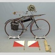 C. 1892, Columbia #1, Spring Fork, hard tire safety, twin tube frame.